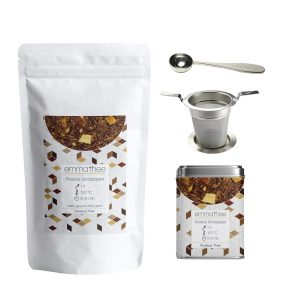 Rooibos Sinaasappel 500 gram met Theeblik een Theezeef en Thee Maatlepel