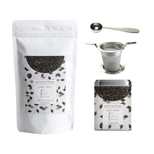 Assam TGFOP1 500 gram met Theeblik een Theezeef en Thee Maatlepel